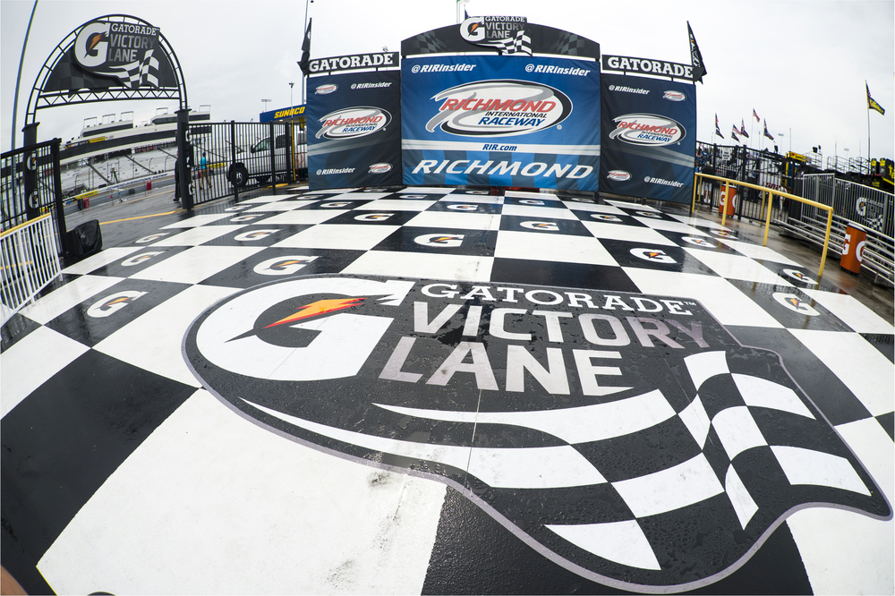 Richmond, VA - Apr 22, 2016: A rain soaked Victory Lane waits during the Toyota Owners 400 weekend at the Richmond International Speedway in Richmond, VA.