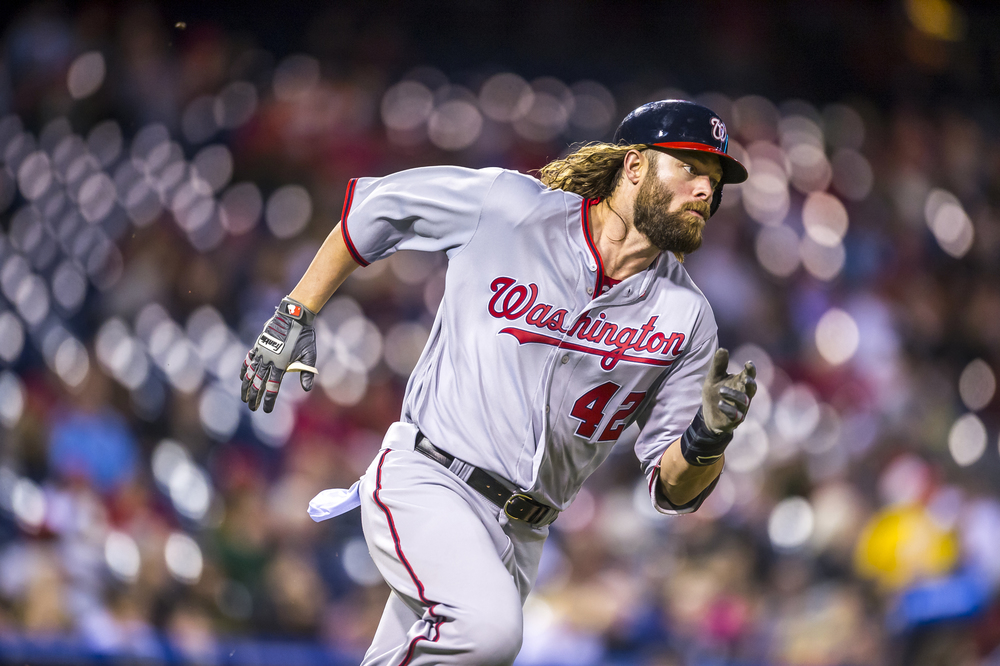 15 April 2016: Washington Nationals left fielder Jayson Werth  sprints towards first on his way to picking up another double during the MLB game between the Philadelphia Phillies and the Washington Nationals played at Citizens Bank Park in Philadelphia, PA. (Photo by Gavin Baker/Icon Sportswire)