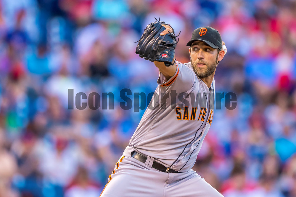 2 August 2016: San Francisco Giants starting pitcher Madison Bumgarner (40) winds up to pitch during the Major League Baseball game between The San Francisco Giants and the Philadelphia Phillies played at Citizens Bank Park in Philadelphia, PA. (Photo by Gavin Baker/Icon Sportswire)