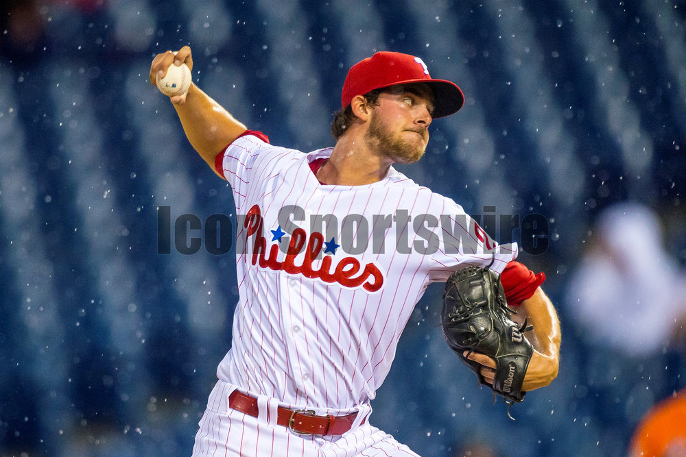 1 April 2016: Philadelphia Phillies starting pitcher Aaron Nola (27) winds up to pitch in the rain during the MLB Spring Training game between the Baltimore Orioles and the Philadelphia Phillies played at Citizens Bank Park in Philadelphia, PA. (Photo by Gavin Baker/Icon Sportswire)
