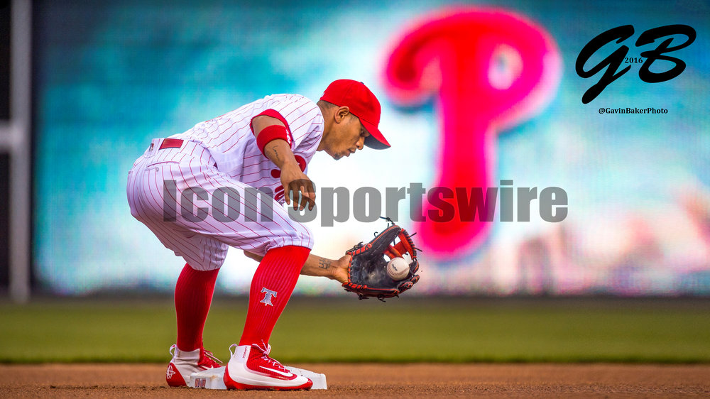 1 April 2016: Philadelphia Phillies second baseman Cesar Hernandez (16) warms up during the MLB Spring Training game between the Baltimore Orioles and the Philadelphia Phillies played at Citizens Bank Park in Philadelphia, PA. (Photo by Gavin Baker/Icon Sportswire)
