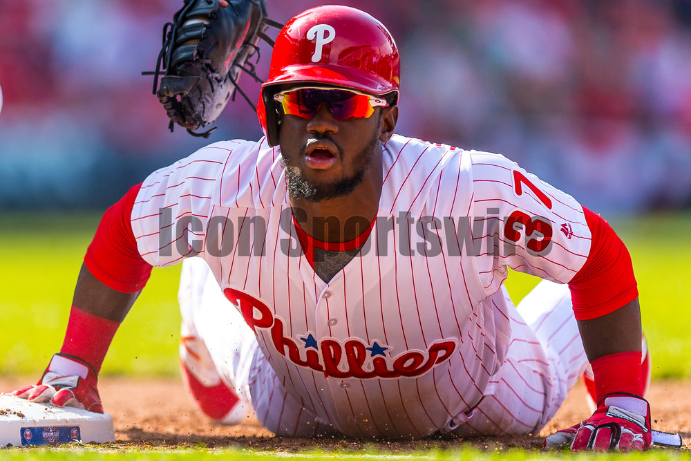 11 April 2016: Philadelphia Phillies center fielder Odubel Herrera (37) dives safely back to first during the MLB game between the Philadelphia Phillies and the San Diego Padres played at Citizens Bank Park in Philadelphia, PA. (Photo by Gavin Baker/Icon Sportswire)