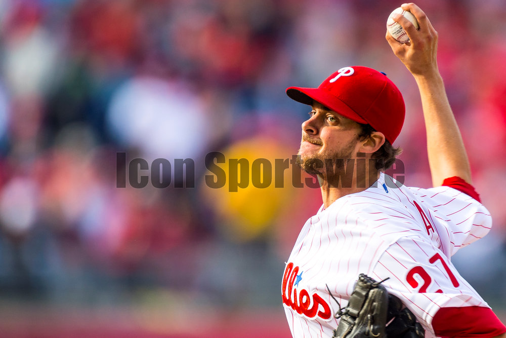 11 April 2016: Philadelphia Phillies starting pitcher Aaron Nola (27) winds up to pitch during the MLB game between the Philadelphia Phillies and the San Diego Padres played at Citizens Bank Park in Philadelphia, PA. (Photo by Gavin Baker/Icon Sportswire)