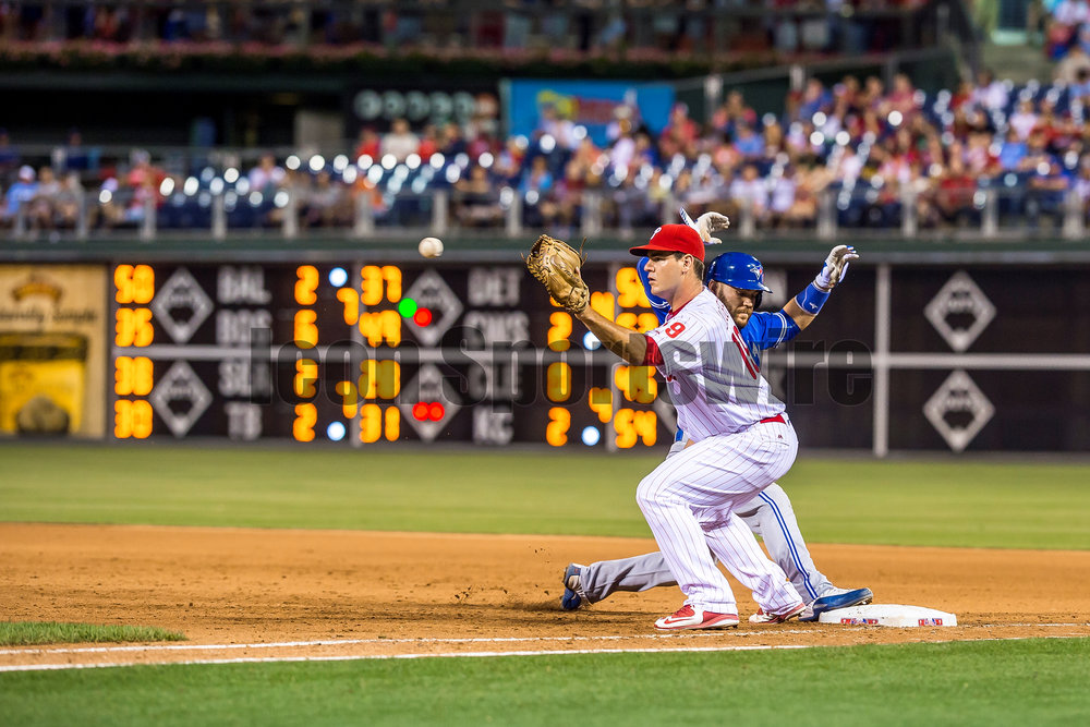 15 June 2016: Philadelphia Phillies first baseman Tommy Joseph (19) guards his runner during the Major League Baseball game between The Toronto Blue Jays and the Philadelphia Phillies played at Citizens Bank Park in Philadelphia, PA. (Photo by Gavin Baker/Icon Sportswire)