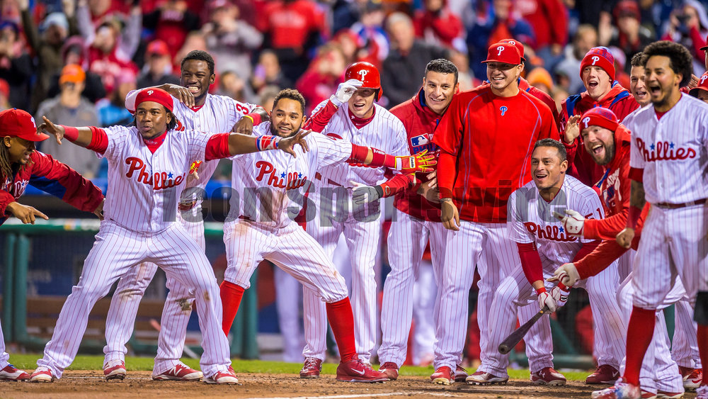 29 April 2016: Teammates wait for Philadelphia Phillies first baseman Ryan Howard (6) to round the basses ending the standoff in the 11th inning between  the MLB game between the Philadelphia Phillies and the Cleveland Indians played at Citizens Bank Park in Philadelphia, PA. (Photo by Gavin Baker/Icon Sportswire)