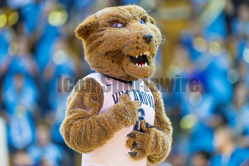 03 February 2016: The Vilanova mascot warms up the crowd  during the NCAA Baksetball game between the Villanova Wildcats and the Creighton Bluejays played at the Pavilion in Villanova, PA. (Photo by Gavin Baker/Icon Sportswire)