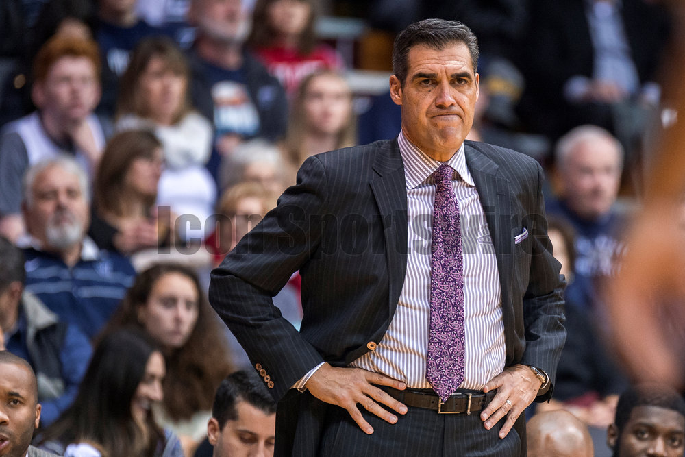 VILLANOVA, PA - DECEMBER 21: Villanova Wildcats head coach Jay Wright looks on in frustration during the game between the Villanova Wildcats and the American Eagles on December 21, 2016 at the Pavilion in Villanova PA. (Photo by Gavin Baker/Icon Sportswire)