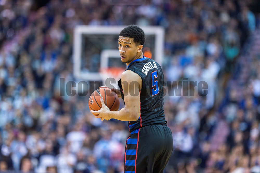 VILLANOVA, PA - DECEMBER 28:  DePaul Blue Demons guard Billy Garrett Jr. (5) looks to pass during the game between the Villanova Wildcats and the DePaul Blue Demons on December 28, 2016 at The Pavilion in Villanova PA.(Photo by Gavin Baker/Icon Sportswire)