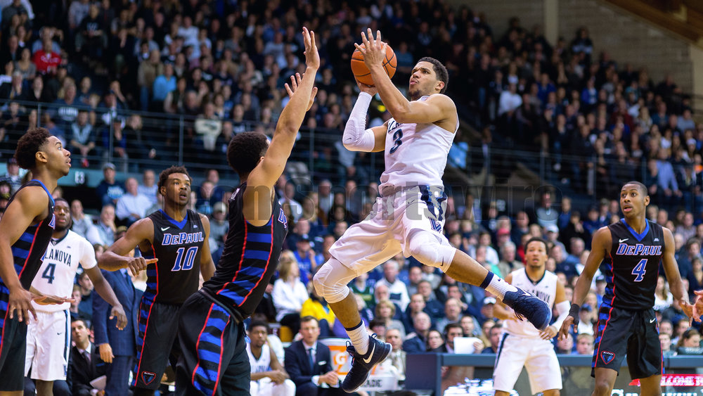 VILLANOVA, PA - DECEMBER 28:  Villanova Wildcats guard Josh Hart (3) in mid air eyes his shot during the game between the Villanova Wildcats and the DePaul Blue Demons on December 28, 2016 at The Pavilion in Villanova PA.(Photo by Gavin Baker/Icon Sportswire)
