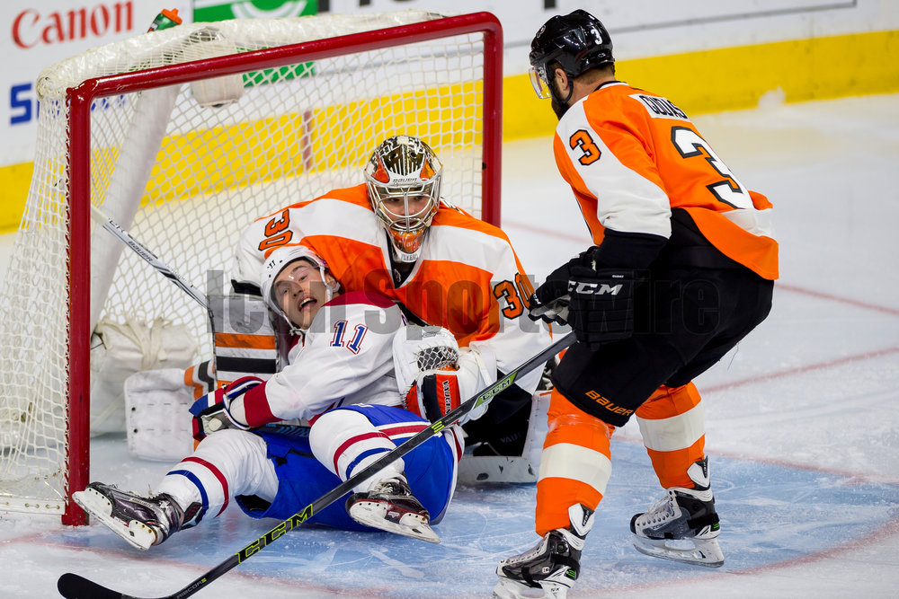 5 January 2016: Montreal Canadiens right wing Brendan Gallagher (11) falls into the Flyers net into Philadelphia Flyers goalie Michal Neuvirth (30) during the NHL hockey game between the Montreal Canadiens and the Philadelphia Flyers played at Wells Fargo Center in Philadelphia, PA. (Photo by Gavin Baker/Icon Sportswire)