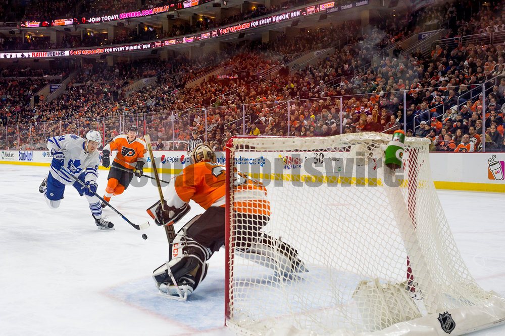 19 January 2016: Toronto Maple Leafs center Peter Holland (24) charges towards the net and scores but it was later recalled under review due to off sides during the NHL hockey game between the Philadelphia Flyers and the Toronto Maple Leafs played at the Wells Fargo Center in Philadelphia, PA. (Photo by Gavin Baker/Icon Sportswire)