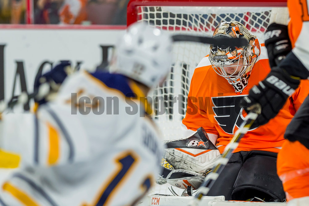 11 February 2016: Philadelphia Flyers goalie Steve Mason (35) makes the save as he blocks the shot fired from Buffalo Sabres right wing Brian Gionta (12) during the NHL game between the Buffalo Sabres and the Philadelphia Flyers played at the Wells Fargo Center in Philadelphia, PA. (Photo by Gavin Baker/Icon Sportswire)