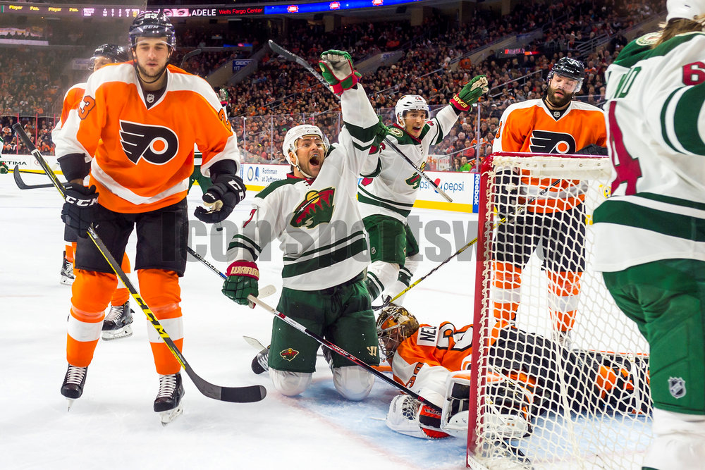 25 February 2016: Minnesota Wild left wing Chris Porter (7) celebrates the Wild's goal during the NHL game between the Minnesota Wild and the Philadelphia Flyers played at the Wells Fargo Center in Philadelphia, PA. (Photo by Gavin Baker/Icon Sportswire)