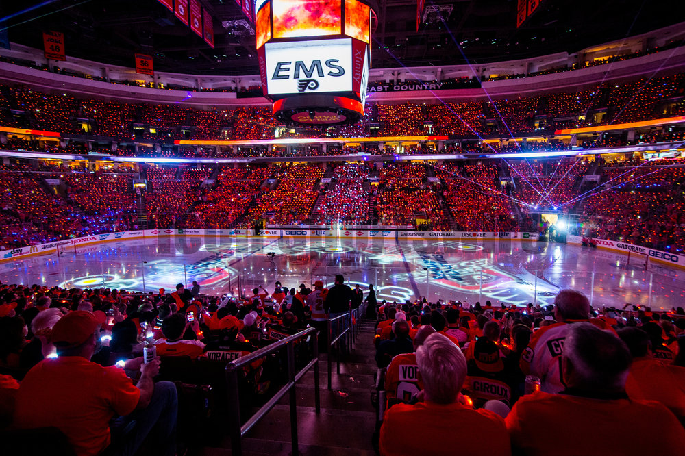 18 April 2016: Pre-game laser show before the NHL playoff game between the Philadelphia Flyers and the Washington Capitals played at the Wells Fargo Center in Philadelphia, PA. (Photo by Gavin Baker/Icon Sportswire)