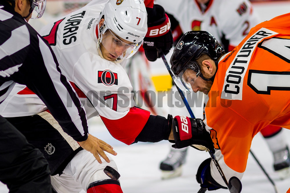 PHILADELPHIA, PA - NOVEMBER 15:  Ottawa Senators center Kyle Turris (7) and Philadelphia Flyers center Sean Couturier (14) watch the puck fall from the referee's hand during the game between the Philadelphia Flyers and the Ottawa Senators on November 15, 2016, at the Wells Fargo Center in Philadelphia, PA. (Photo by Gavin Baker/Icon Sportswire)