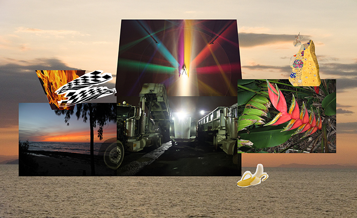""" Enigma and trucks ""   Archival ink print with Aluminum print  24x42""   Edition of 3 and 2 AP"