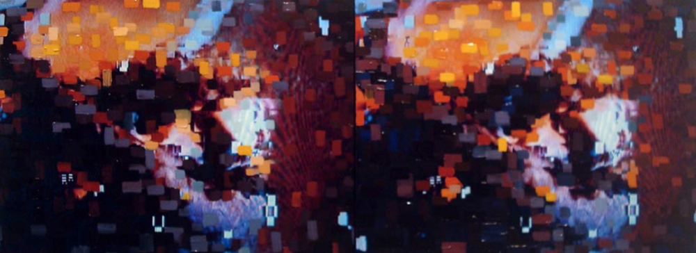 """Double Night Out"" 2014 Photo and Acrylic on Canvas 48""x18"""