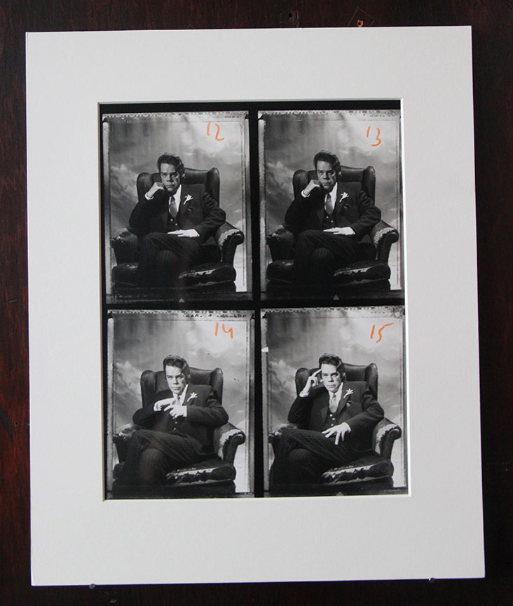 """Buster Poindexter"" Unique contact sheet A.    Geltin silver print. Price: $1,200. SALE: $800"