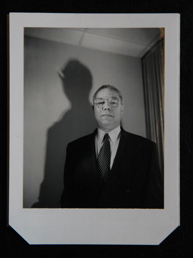"""Colin Powell_1"" by Rafael Fuchs. Unique B&W 4x5"" Polaroid. Price: $950. SALE: over"