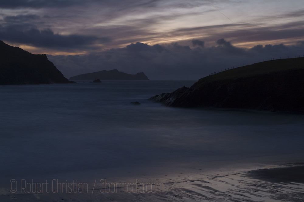 Clogher Strand after sunset.