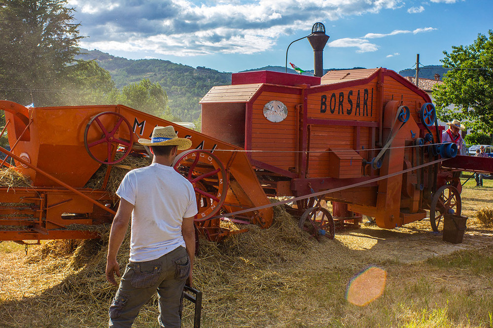 A man inspects the final stage of the threshing where grain stalks are bailed into hay.