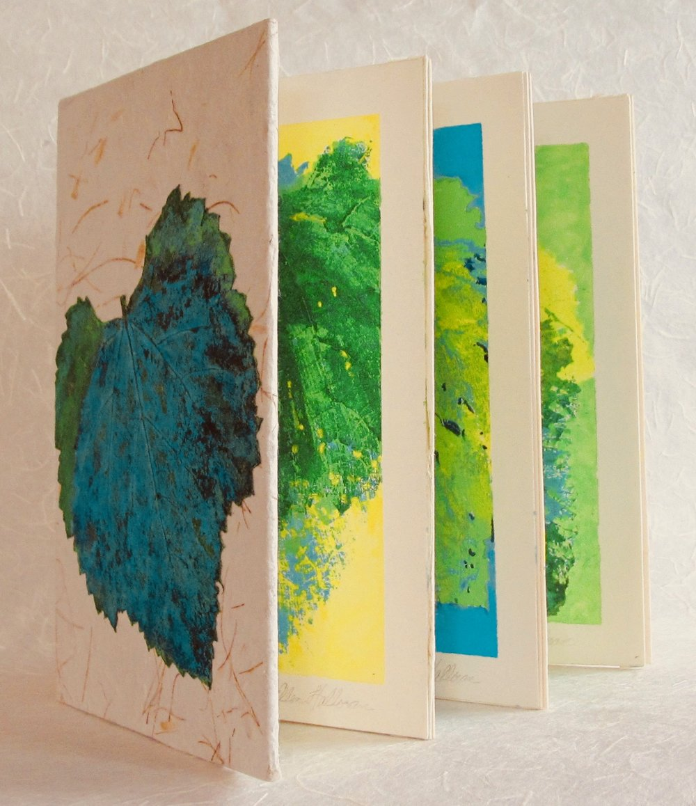 "Grape Leaves of Salt Lake City    handmade paper, bookbinder's board, bristol paper, cotton rag paper, acrylic paints  7 1/4"" X 5 1/4"" X 3/4"""