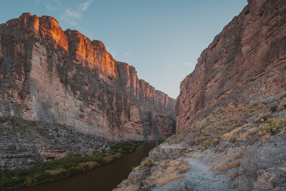 river running through steep canyon on border of mexico and united states