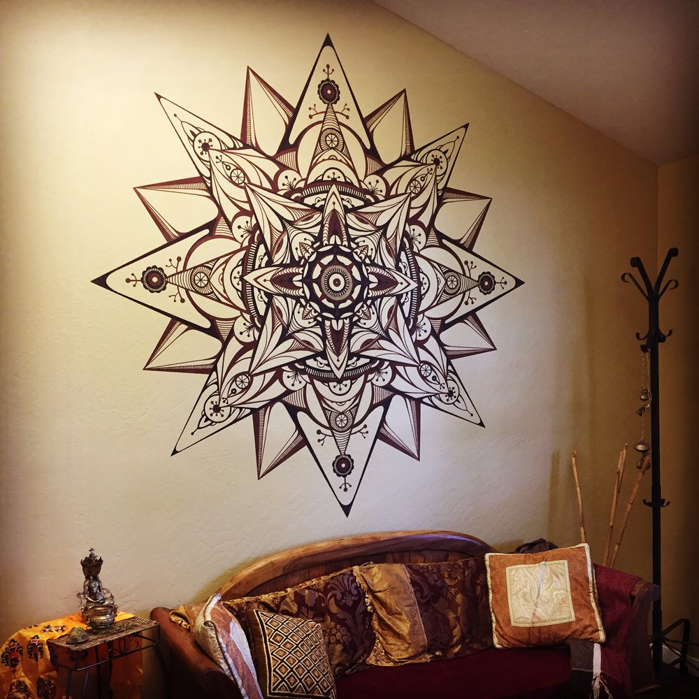 STRAWBERRY HILL PRODUCTIONS Part henna, part psytrance, this mandala is the first thing musicians and producers see when entering the Strawberry Hill music studios in Novato Ca.