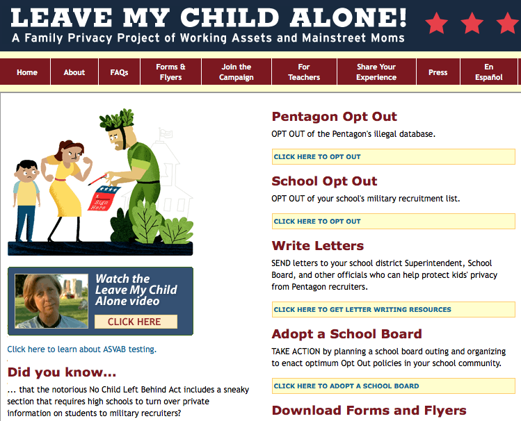 Website generated a personal letter to schools nationwide to help families opt out.