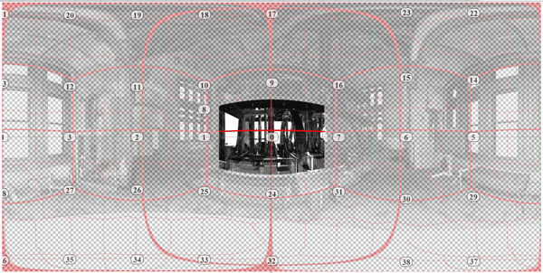 Figure #5:  In this equirectangular projection we are able to see the view range that is provided by a single view tile.
