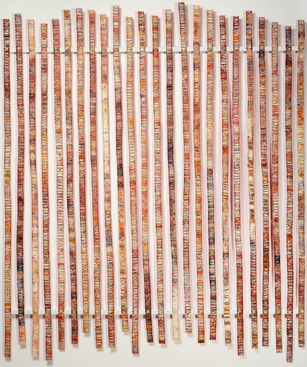 "Telegraphing Orange Colograph Installation: ink on paper,stitched and pierced, mounted on metal with magnets. 72"" x 60"""