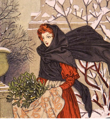 Eugene Grasset, French, 1841-1917: December (detail), from Les Mois: Douze Compositions d'Eugene Grasset, 1895; color wood engraving.