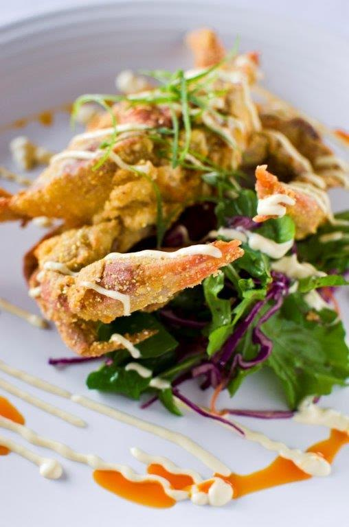 southern fried n.c. softshell crab w/ purple cabbage slaw, millarckee farm's arugula & tabasco aioli