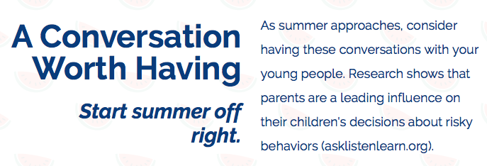 Conversations to have with your young person as summer begins