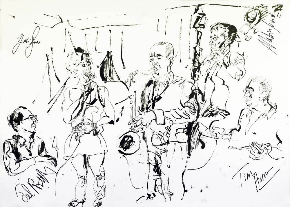 "Jonathan Glass  Holli Ross Quartet, 2012, Pen and Ink on paper,16.5"" x 23.25"""
