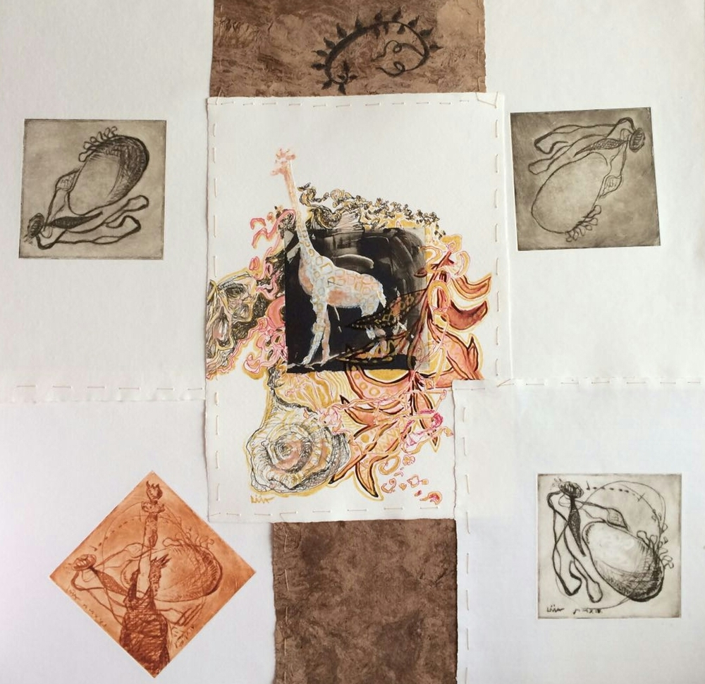 Livia Balu (RO-CH), Giraffe Ornament Square, (2016), collage, etching, ink and watercolor on paper, cm 50x50.jpg
