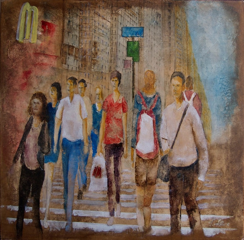 Giuseppe Rizzo Schettino (I), Escursionisti a New York (Walkers in New York) (2015), oil on canvas, cm 50x50.jpg