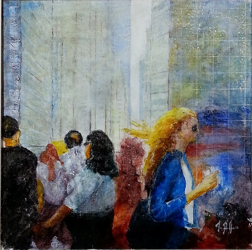 Giuseppe Rizzo Schettino (I), Pedoni (Pedestrians in New York) (2015), oil on canvas, cm 50x50.jpg