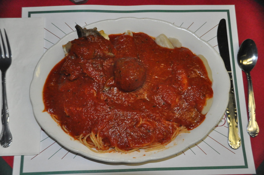 Carbone's Famous Pasta Sampler with Meatball