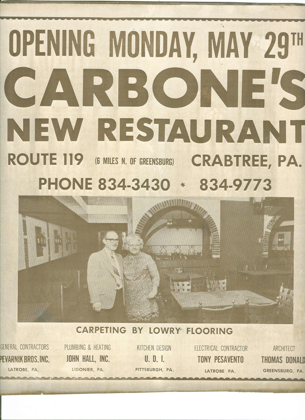 poster from the re-opening of carbone's restuarant in 1973.jpg