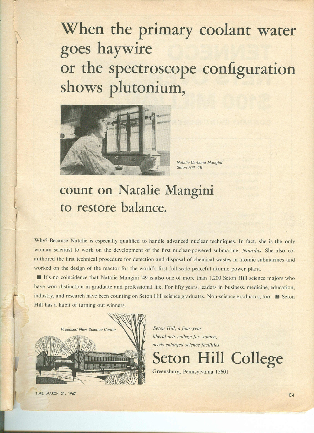 natalie mangini featured in an advertisement for seton hill .jpg