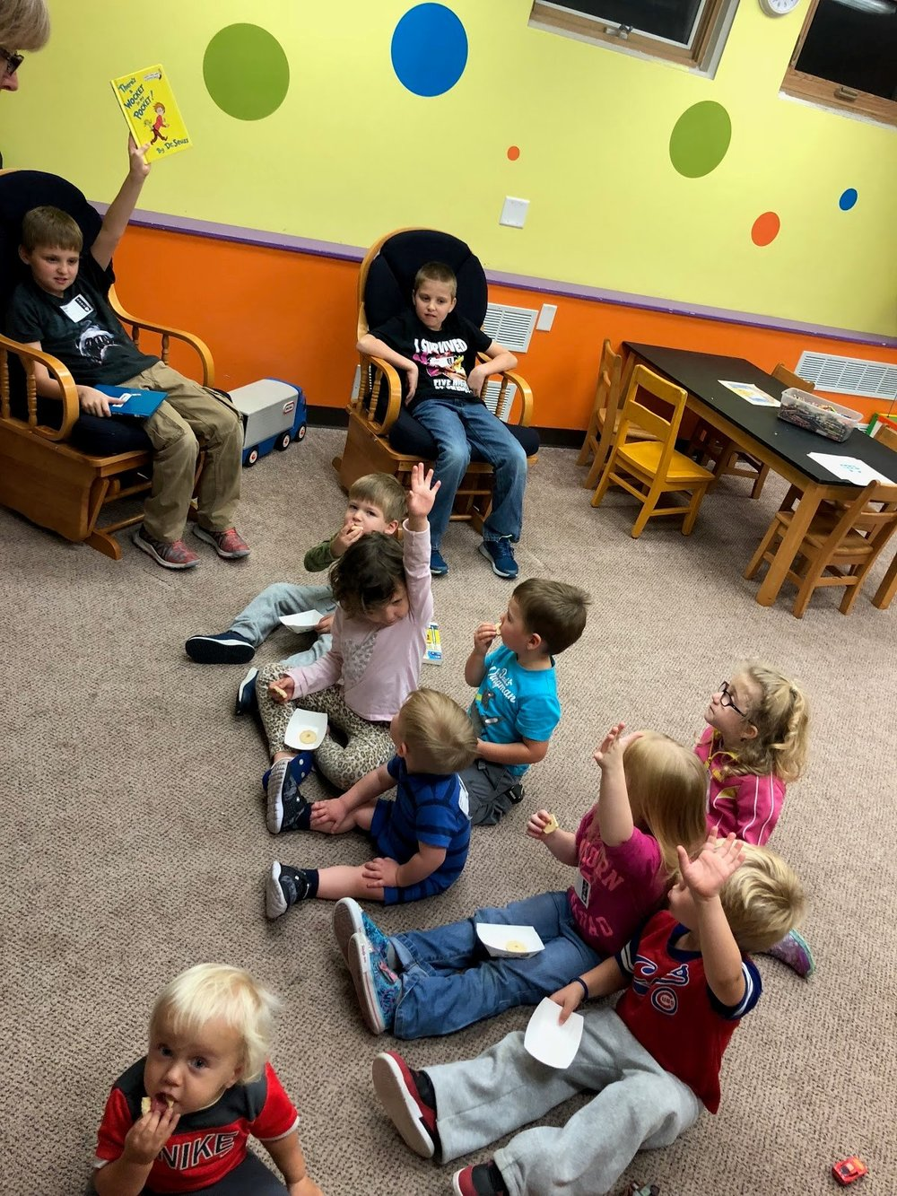 We love reading in the nursery! If you would like to read to the kiddos on a Sunday morning or Wednesday evening, give Alisa a call at 563.391.5488.