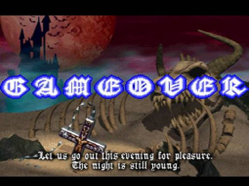 Symphony of the Night's game over screen lets you know that you have failed.
