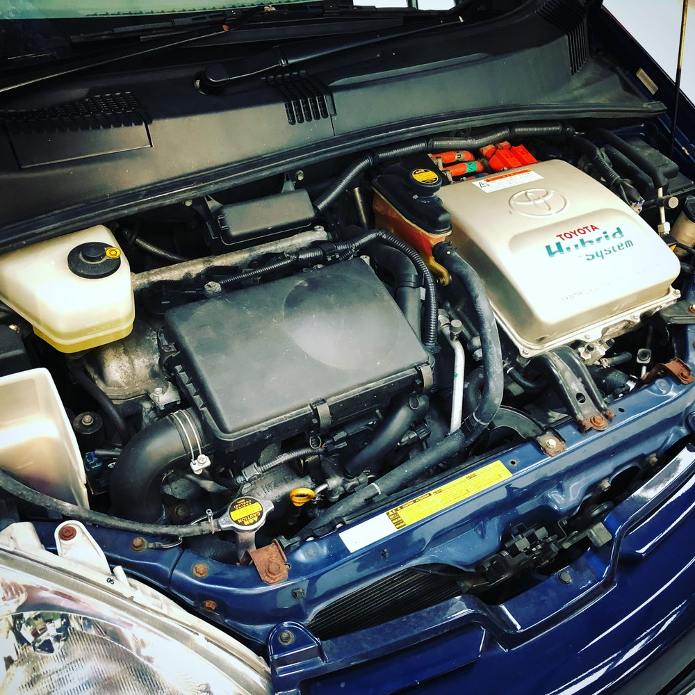 Under the bonnet of a Mk1 Toyota Prius