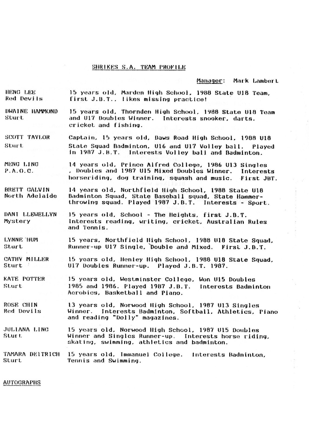 1988 June Bevan Trophy - Sturt team - Shrikes S.A. player profiles