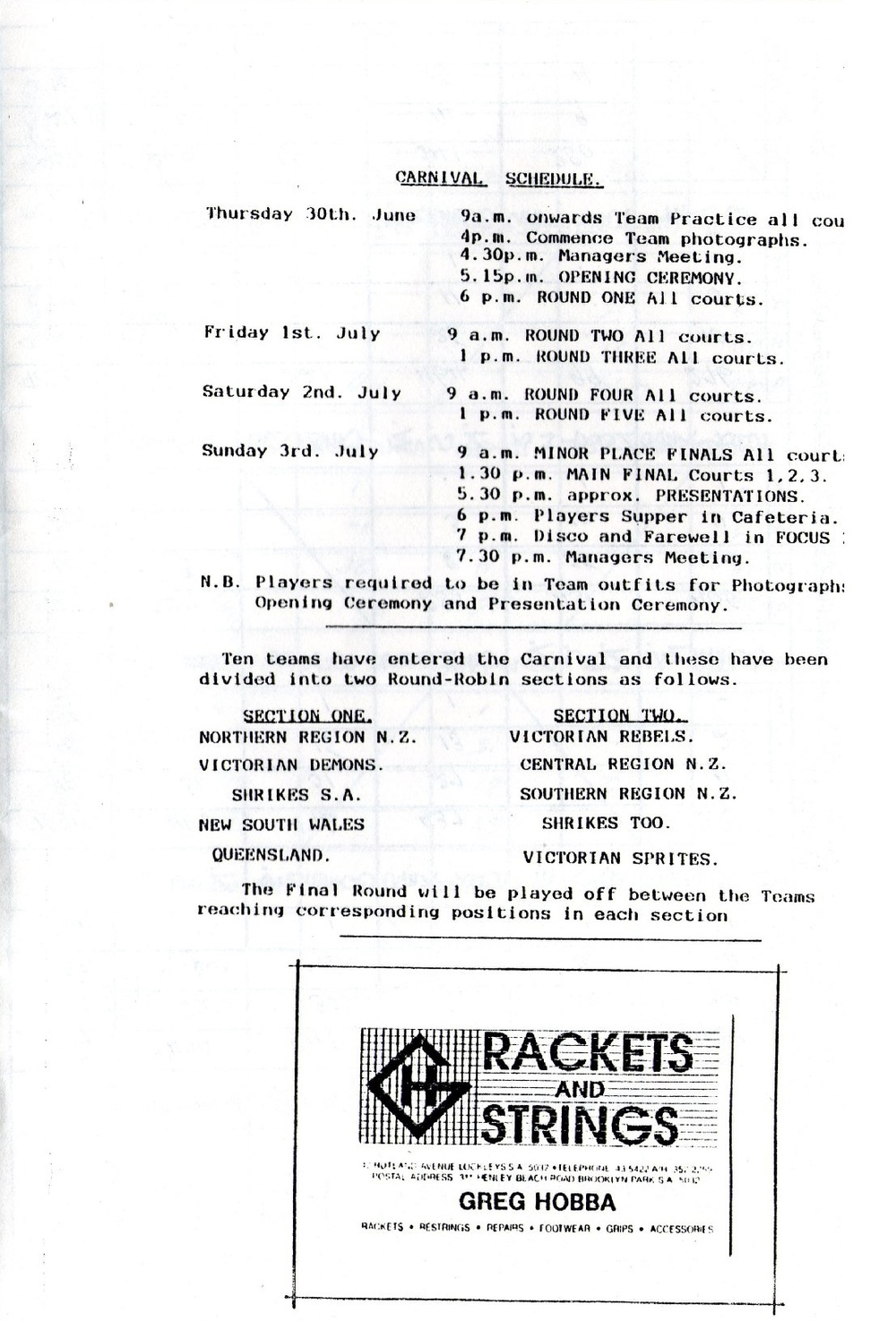 1988 June Bevan Trophy schedule