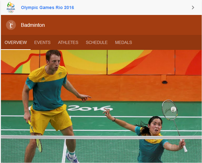 Courtesy of Google Search       Badminton Rio 2016