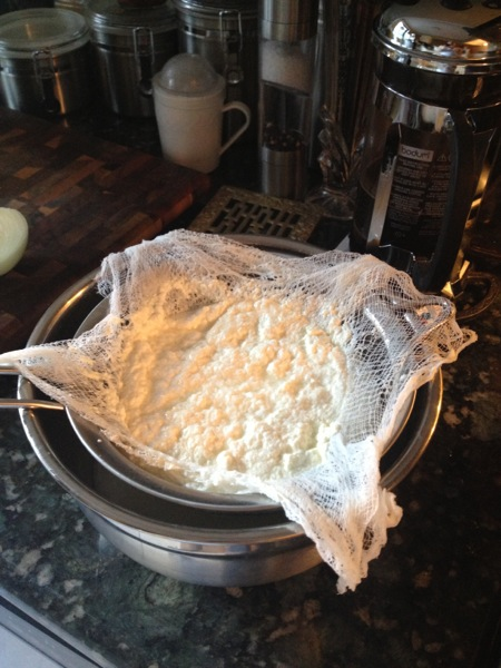 Strain through a fine sieve and a double layer of damp cheesecloth.  Homemade ricotta cheese!