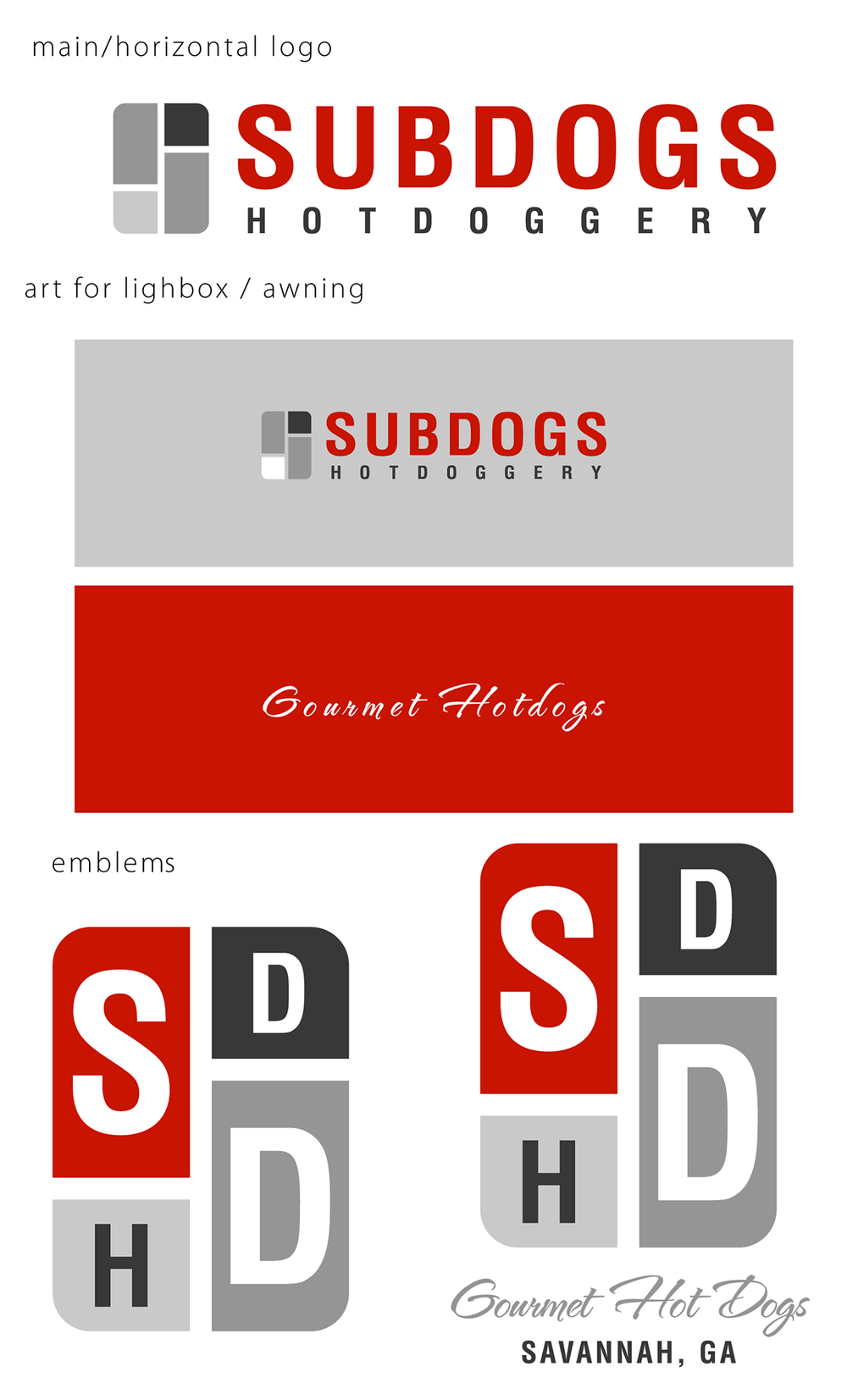 Subdogs Hotdoggery branding and logo | Savannah, GA