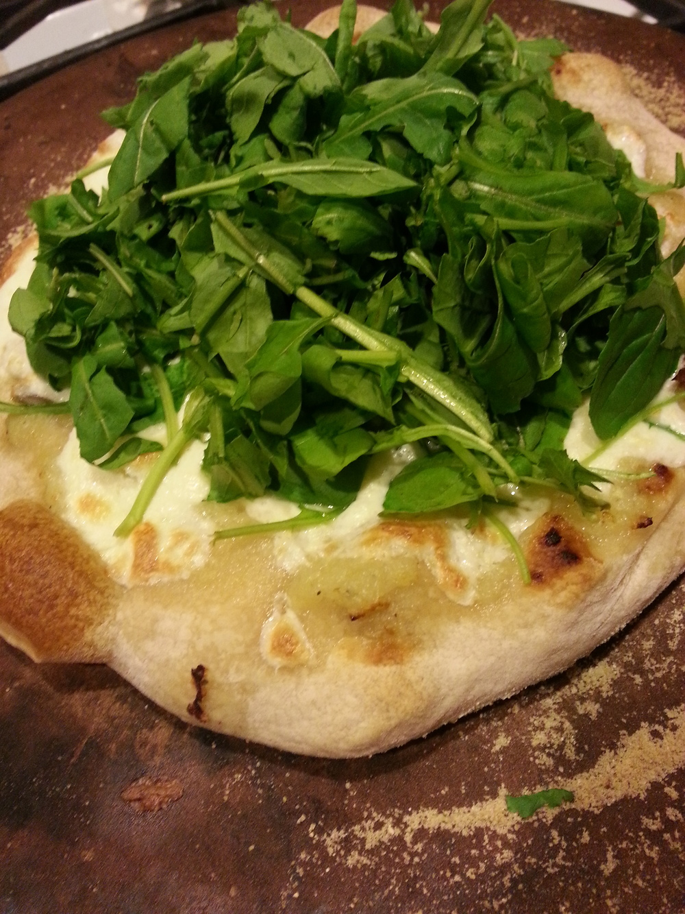 White pizza from Pizza Tonight with fresh mushrooms from Fantastic Fungi and Manakintowne's gorgeous arugula